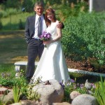 couple at Cloran Mansion garden