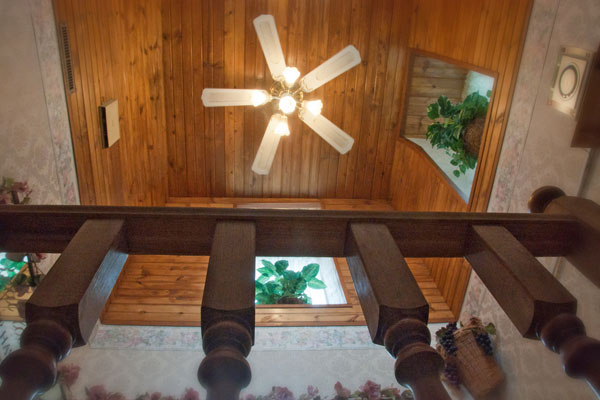 tower suite ceiling fan and stairs
