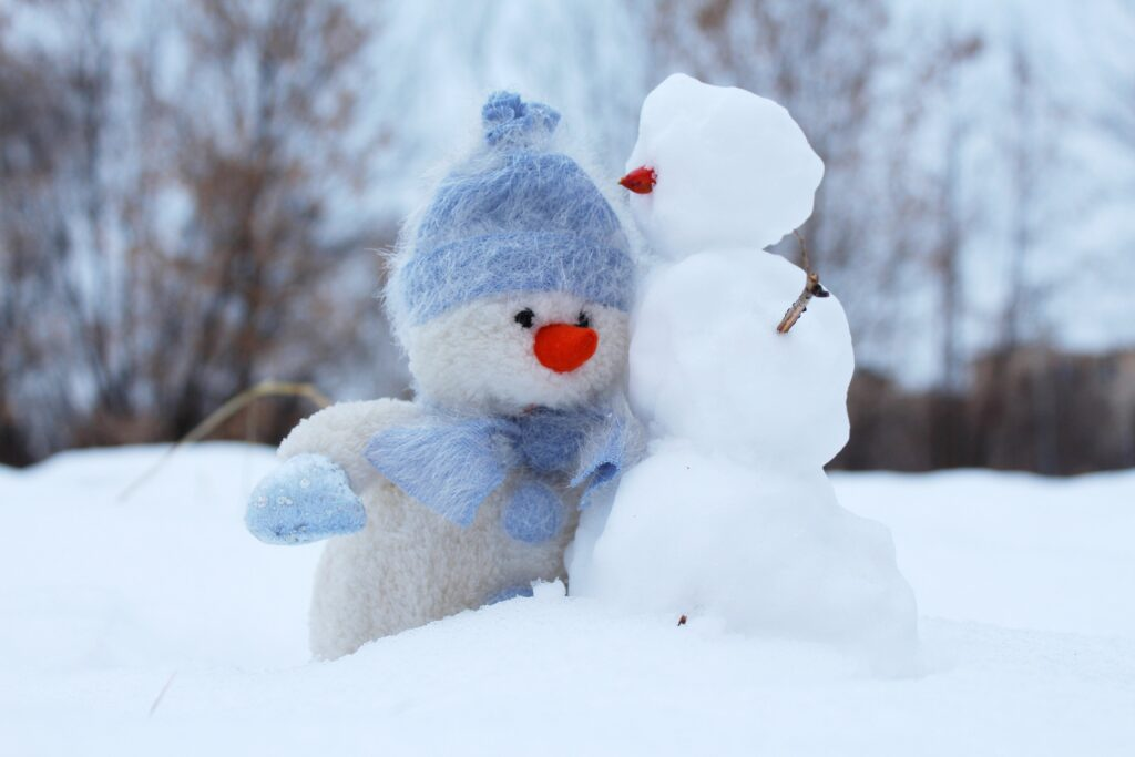 Two small snowmen stand side-by-side